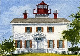 Coquille River Lighthouse Oregon Bandon Gerald Hill Watercolor Prints